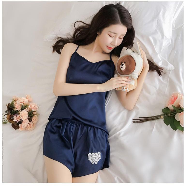 Bộ Đồ Ngủ/ Quần Áo Ngủ Nữ Lụa 2 Dây Cực Đẹp Cho Mùa Hè Đồ Pijama/ Đồ Ngủ Đẹp