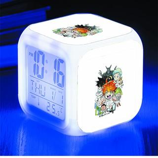 Đồng hồ báo thức để bàn in hình Miền Đất Hứa The Promised Neverland anime chibi LED đổi màu