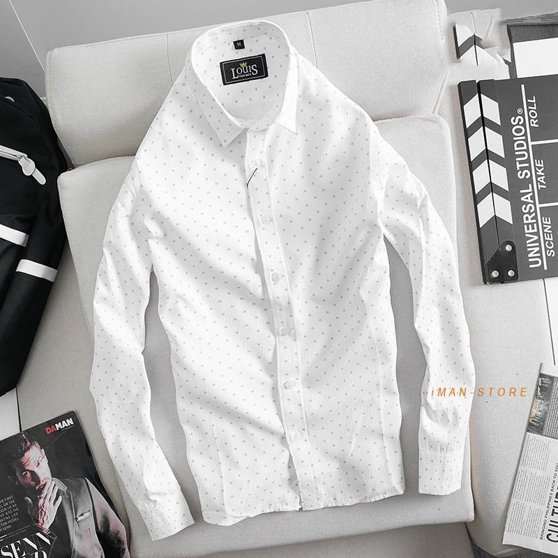 Mặc gì đẹp: Xinh tươi với Áo Sơ Mi Nam Công Sở Dài Tay Chấm Bi, Áo Sơ Mi Nam Hàn Quốc Gấp Hộp Cao Cấp VNXK