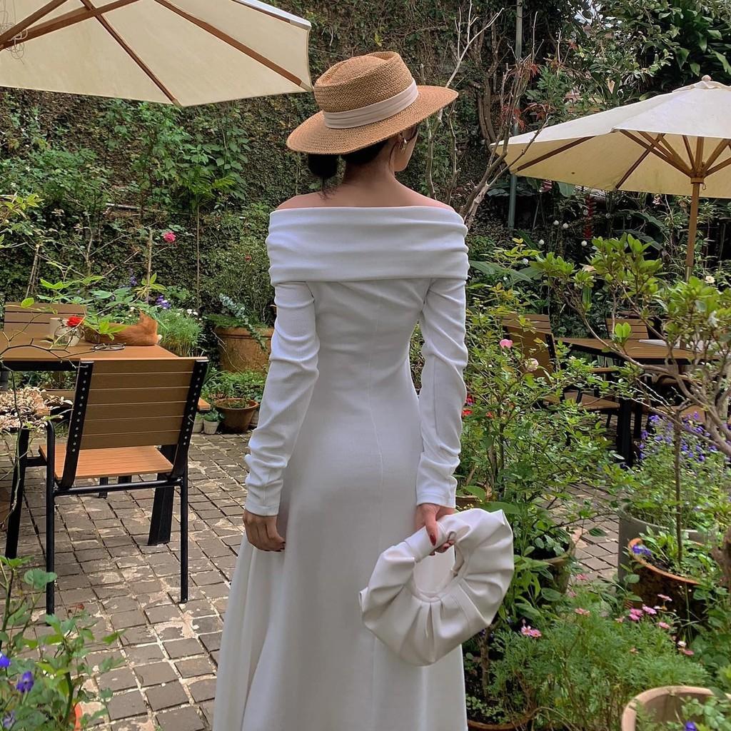 Mặc gì đẹp: Sang chảnh với Đầm dự tiệc trễ vai màu trắng body tay dài, đầm lệch vai sexy hàng thiết kế chính hãng Kim Hoàng - (Mẫu Lệch Vai)