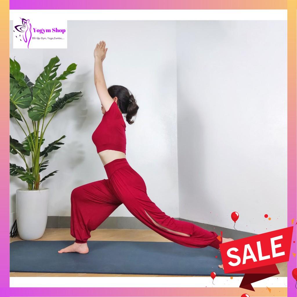 Mặc gì đẹp: Năng động với Bộ Tập Alibaba QUẦN XẺ Tập Yoga, Tập Zumba, Tập Múa Siêu Mát, Co 4 Giãn 4 Chiều