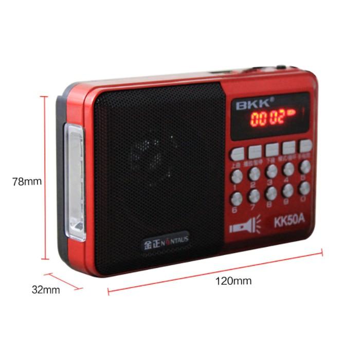 Đài FM, Loa Nghe Nhạc USB, Thẻ Nhớ, Nghe Pháp BKK KK50A Có Đèn Pin