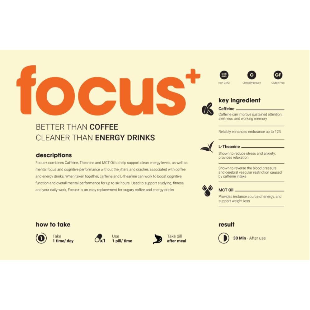 Viên uống tăng tập trung, tỉnh táo, tăng cường năng lượng Neowell Focus+ (30 viên)