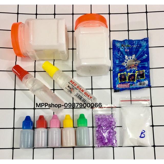 Bộ nguyên liệu làm trang trí slime:2 hộp keo,2 lọ hồ trong,tuyết,5 lọ mầu thực phẩm,1 fisbow,1 borax