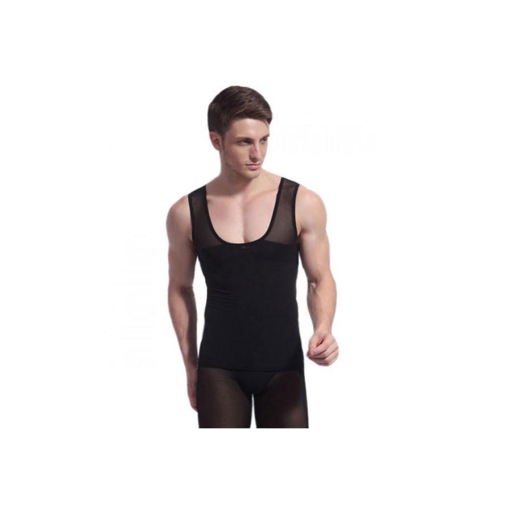T-shirts Flip-flops Sandals Best Shape เสื้อกล้ามเก็บพุง หน้าท้อง กระชับสัดส่วนผู้ชาย Double Layer - สีดำ-shirts Flip-fl