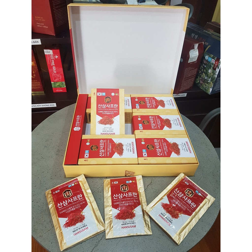 Nước Hồng Sâm Nhụy Hoa Nghệ Tây Korean Red Ginseng Saffron HANSUSAM Hàn  Quốc, hộp 30 gói x 50ml | Shopee Việt Nam