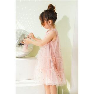Đầm bé gái thiết kế khoét nách lưới Hồng sao nhí - Twinkle Dress
