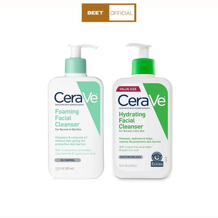 Sữa rửa mặt dịu nhẹ CeraVe Foaming Facial Cleanser 355ml có 2 loại dành cho da khô và da dầu