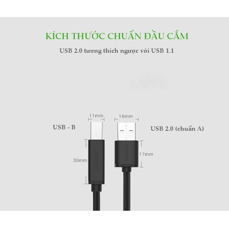 Cáp máy in USB 2.0 sang USB-B tích hợp IC khuyếch đại UGREEN US122