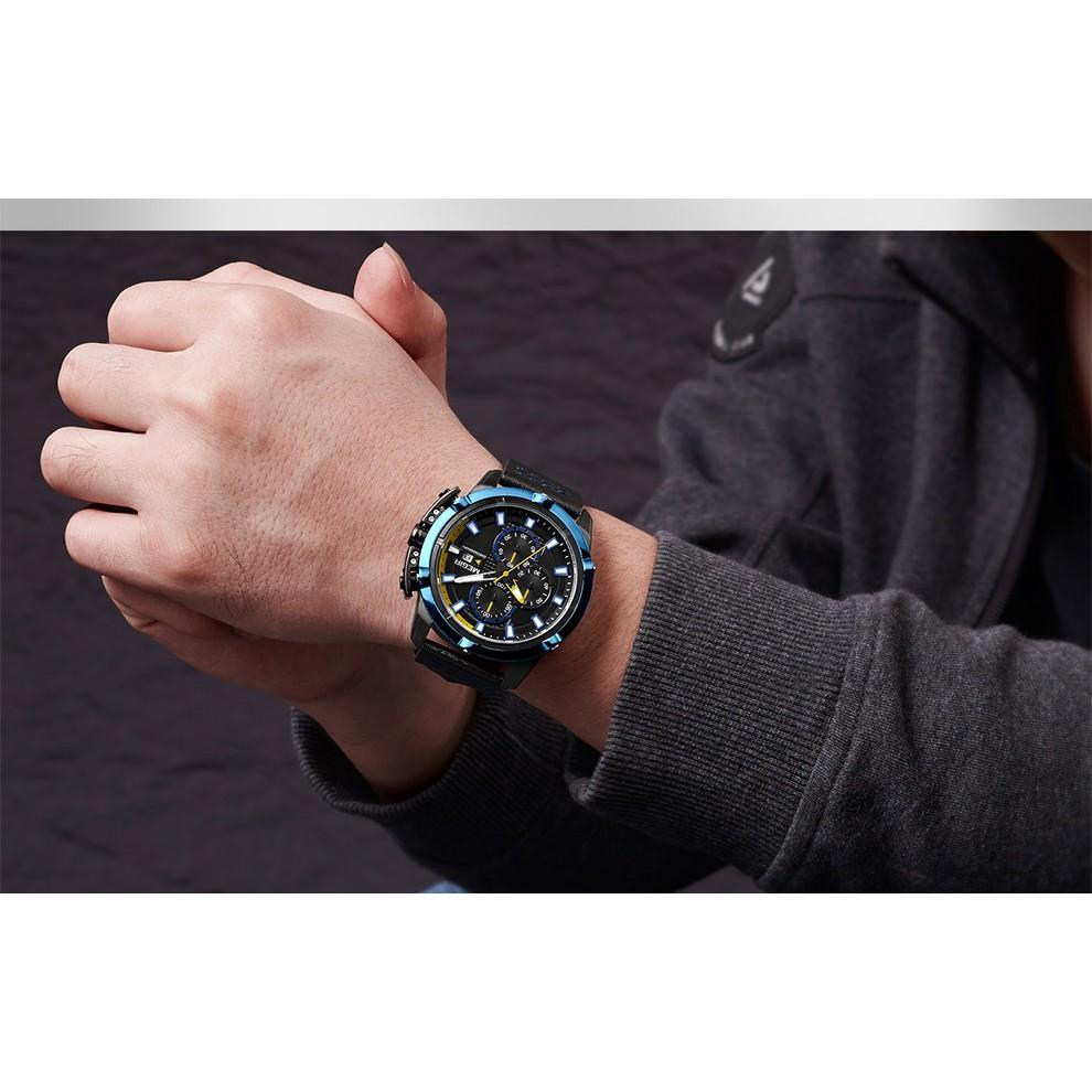 Đồng hồ đeo tay dây da chống nước sáng tạo dành cho nam MEGIR