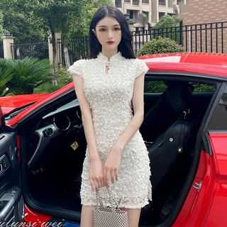 Cheongsam summer dress 2020 new anchor clothing pure super fairy young girl sexy hollow dress