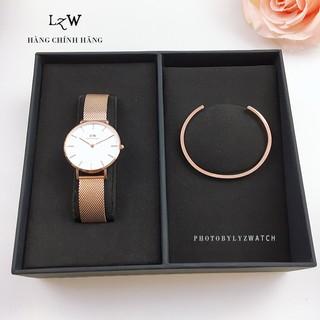 """Đồng hồ nữ Daniel Wellington Classic Petite Melrose mặt trắng & vòng tay DW Cuff - Lyz watch giá chỉ còn <strong class=""""price"""">65.000.000.000đ</strong>"""
