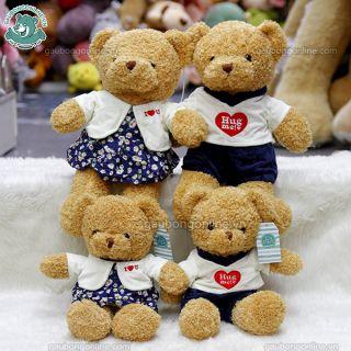 Gấu Teddy áo Hug me chất lông xù kích thước 50cm