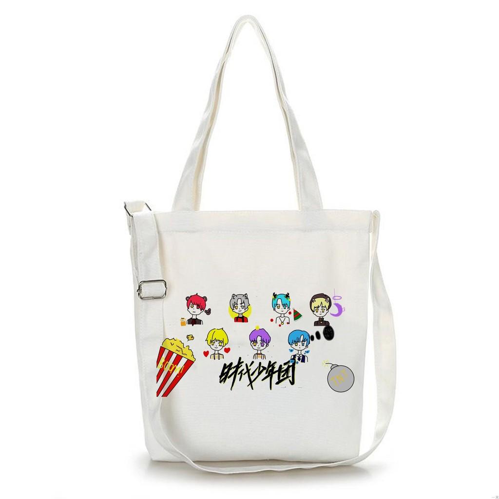 Túi tote vải trắng đeo vai in hình TNT THỜI ĐẠI THIẾU NIÊN ĐOÀN thời trang phong cách idol
