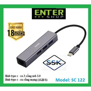 HUB type-c – ra 3 usb và 1 cổng mạng (1GB) – SC122 cao cấp tặng túi bảo vệ