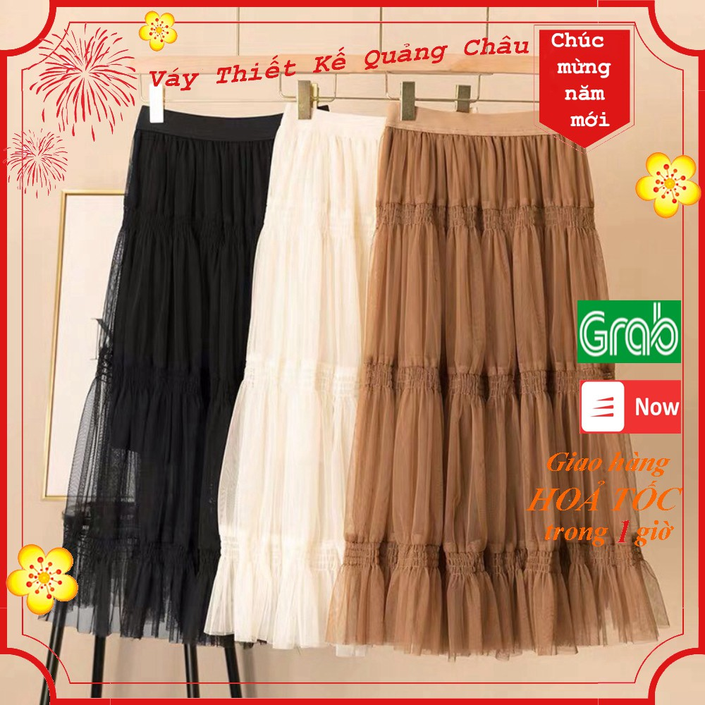 Chân váy ren lót vải 3 lớp freesize cạp cao, hàng Quảng Châu loại 1 dáng xòe chữ A