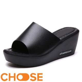 Giày Nữ Dép Nữ Thời Trang Choose Đế Xuồng Quai Ngang Bản To Màu Đen và Trắng 5CM G23K9 thumbnail