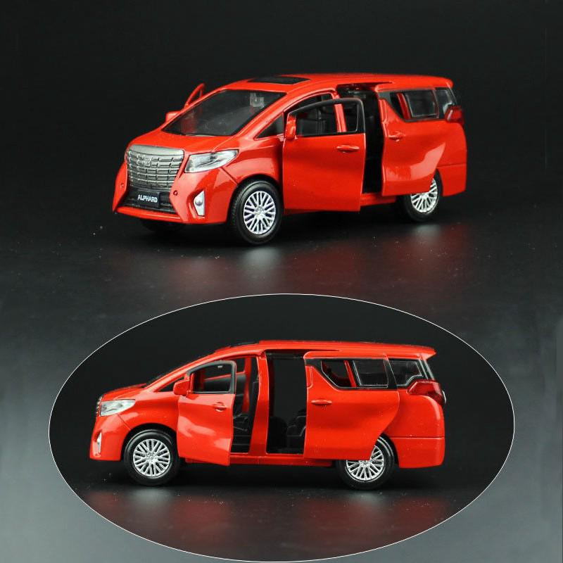 1:32 Red Nanny Van Car Diecast Vehicles Model Pull Back For Toyota Alphard Toy
