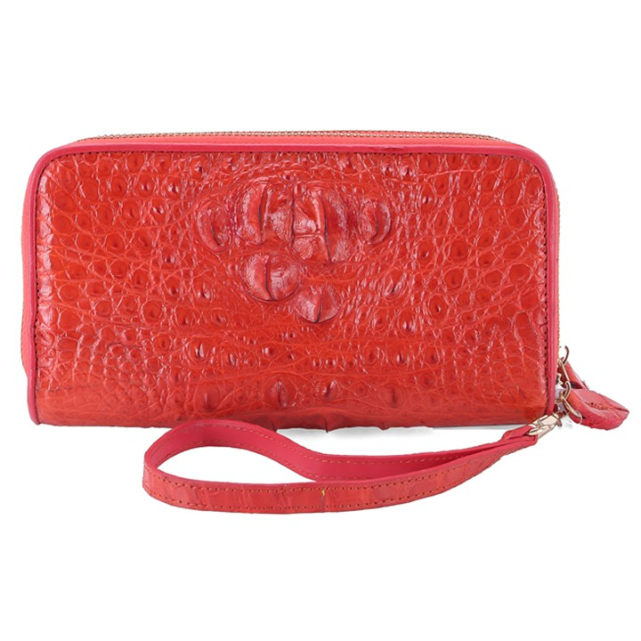 Bóp da cá sấu 2 khóa nguyên con đỏ HP3265