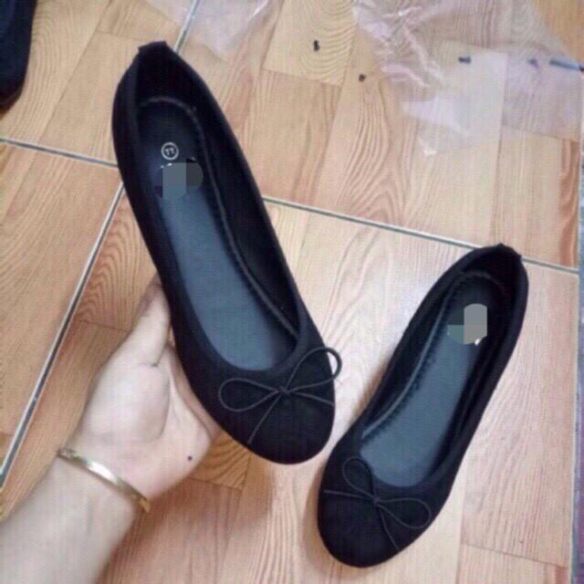 Giày nữ búp bê đế bệt gắn nơ chun đơn giản