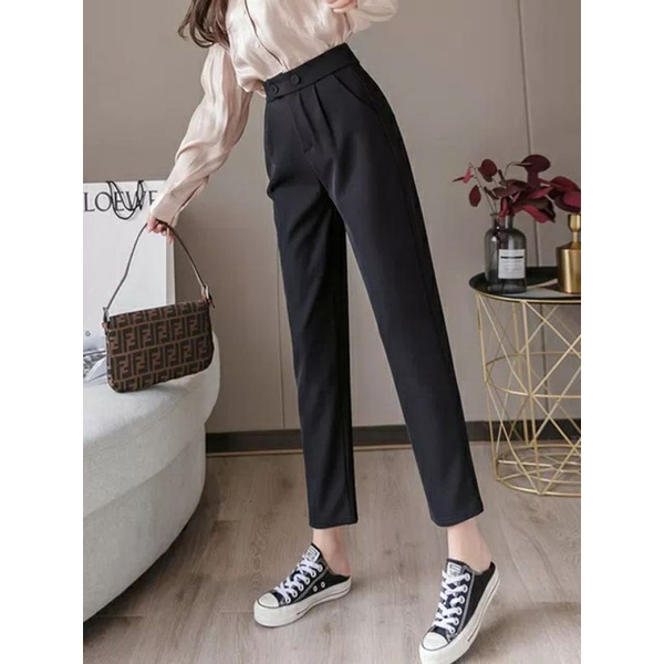 Mặc gì đẹp: Đẹp với Quần tây đen công sở nữ dài 2 khuy bấm - dáng quần baggy - ống đứng vải công sở dày mềm