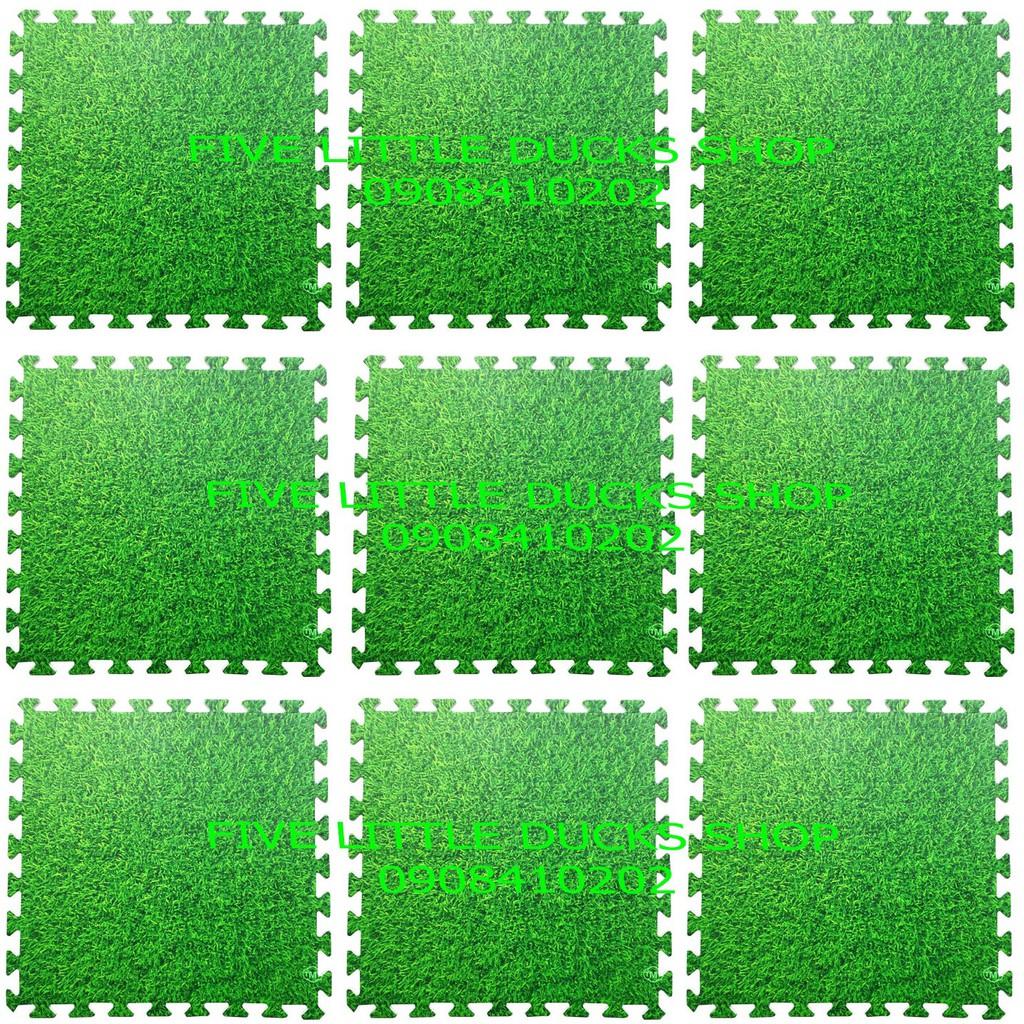 Combo 9 tấm Thảm xốp lót sàn chống trơn trượt an toàn cho bé hình thảm cỏ xanh (60x60cm)