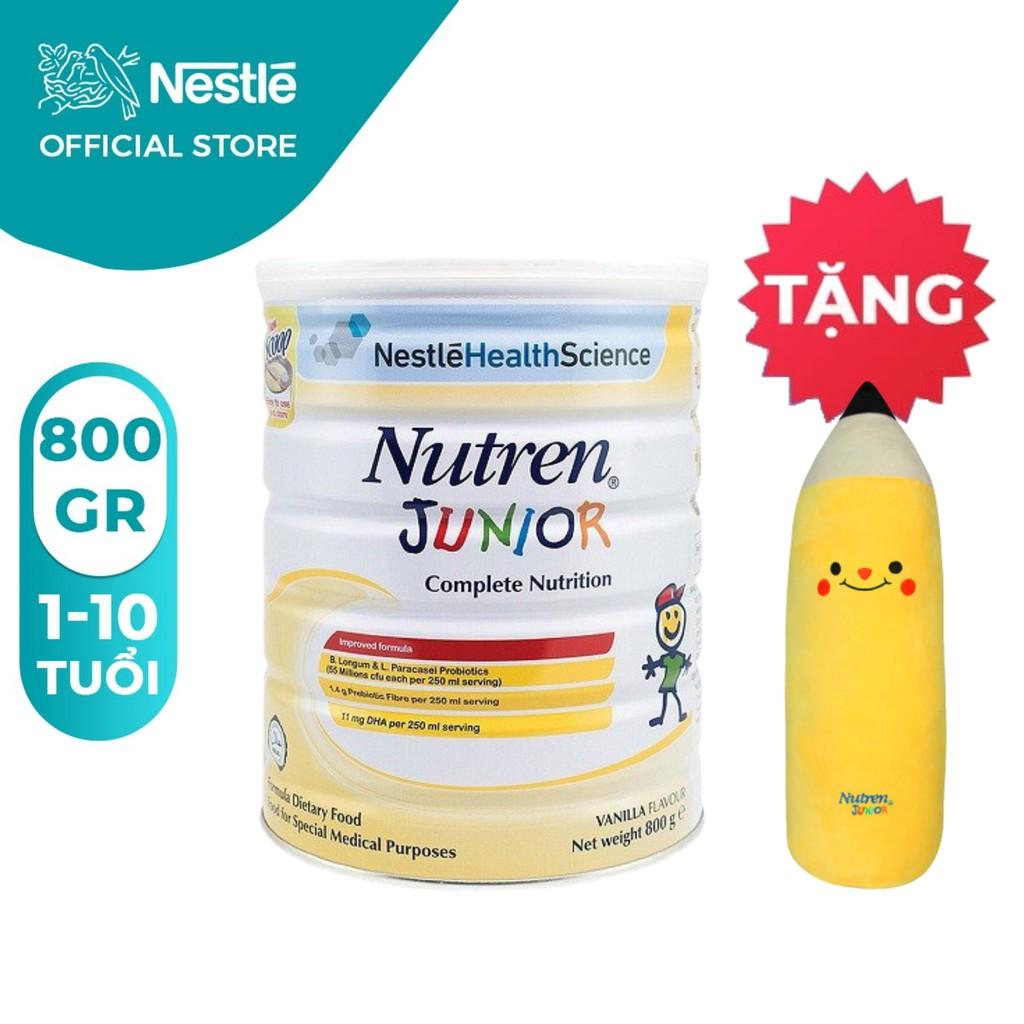 [Tặng 01 Gối ôm bút chì cho bé] Sữa bột Nutren Junior 800g
