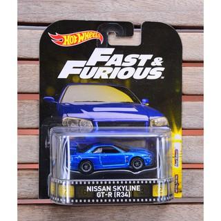 Xe mô hình tỉ lệ 1:64 Hot Wheels bánh cao su Fast & Furious Nissan Skyline GT-R ( R34 ) màu xanh