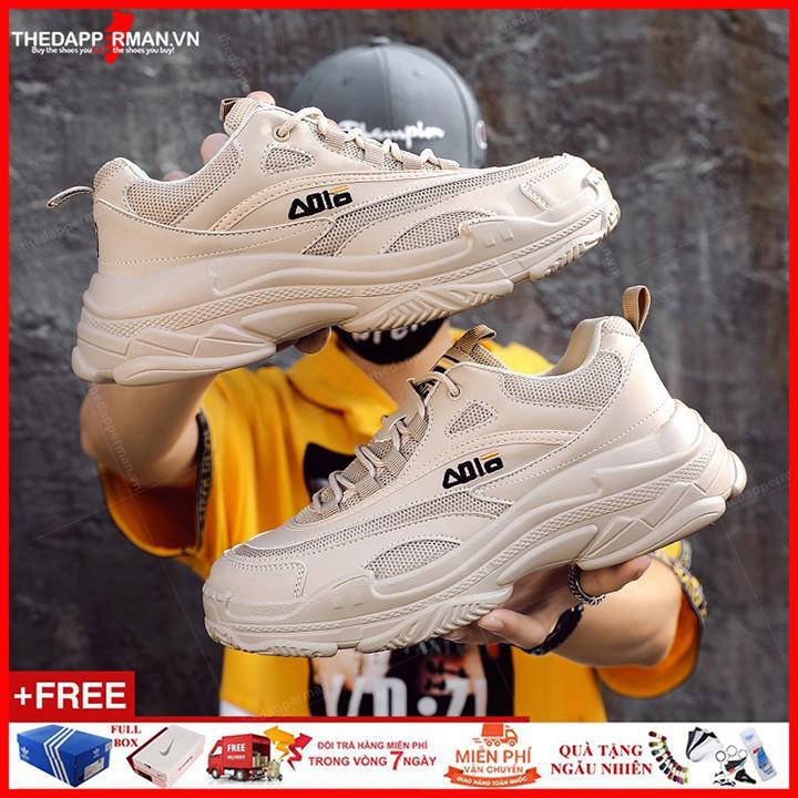 Giày Sneaker thể thao nam màu be BA008 độn đế 5cm
