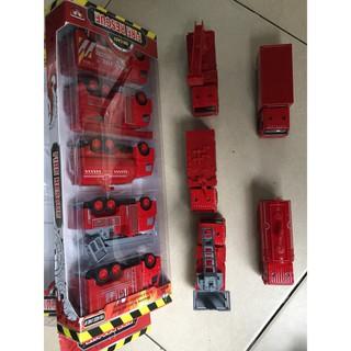 [Giá Tốt] Bộ ô tô cứu hỏa (set 5c) làm bằng sắt