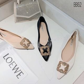 Bệt nữ HHS da sần mũi nhọn đá Hà Huyền Shoes - BB152