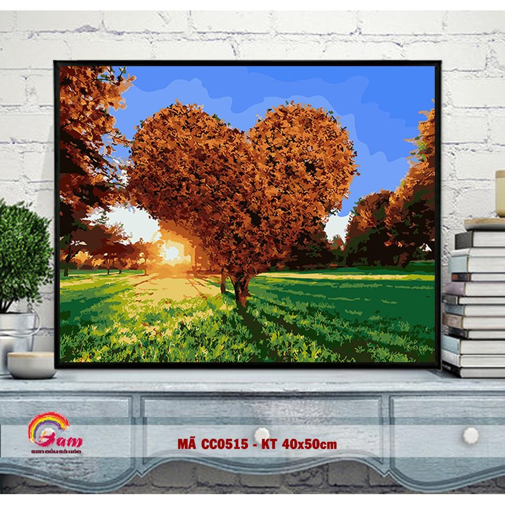 Tranh tự tô màu sơn dầu kỹ thuật số DIY cây cỏ - Mã CC0515 Cây trái tim