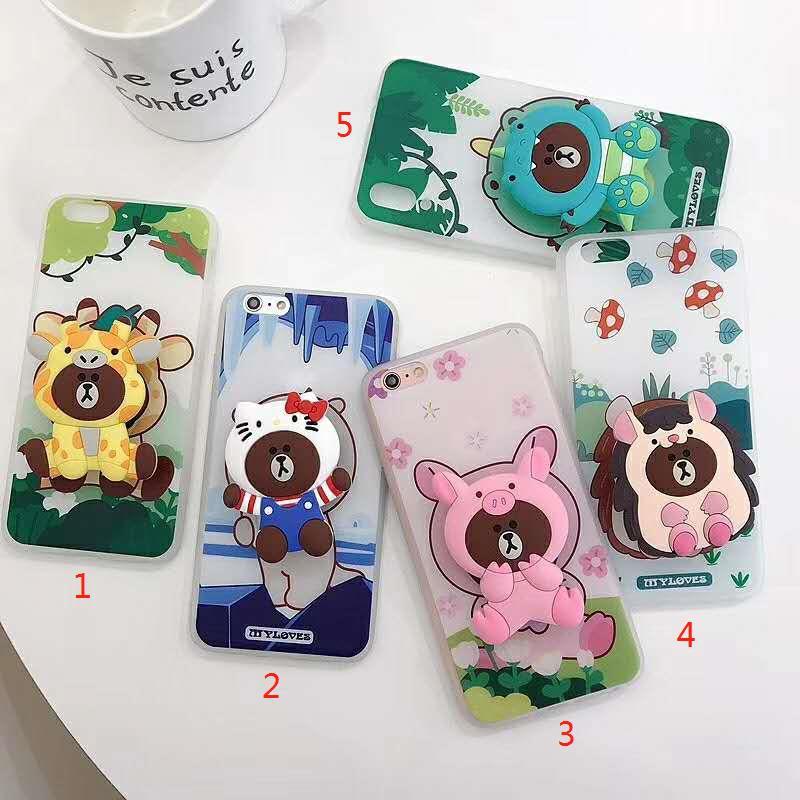 Đế đỡ điện thoại có túi khí hình động vật mặt gấu hoạt hình bằng silicon dễ thương
