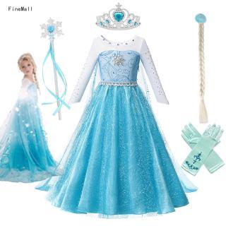 Bộ Đầm Hóa Trang Nữ Hoàng Băng Giá Elsa Dành Cho Bé Gái Từ 3-12 Tuổi