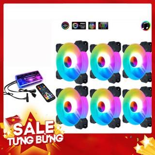 Bộ Quạt Tản Nhiệt nháy nhạc, Fan Case Coolmoon X Y1 Led RGB Dual Ring-Kèm Bộ Hub Music Và Remote