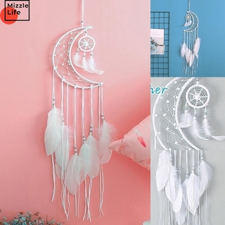 Mizzle Handmade White Retro Craft Moon Feather Dreamcatcher Home Decor Wind Chimes Home Wall Hanging Decoration Gifts