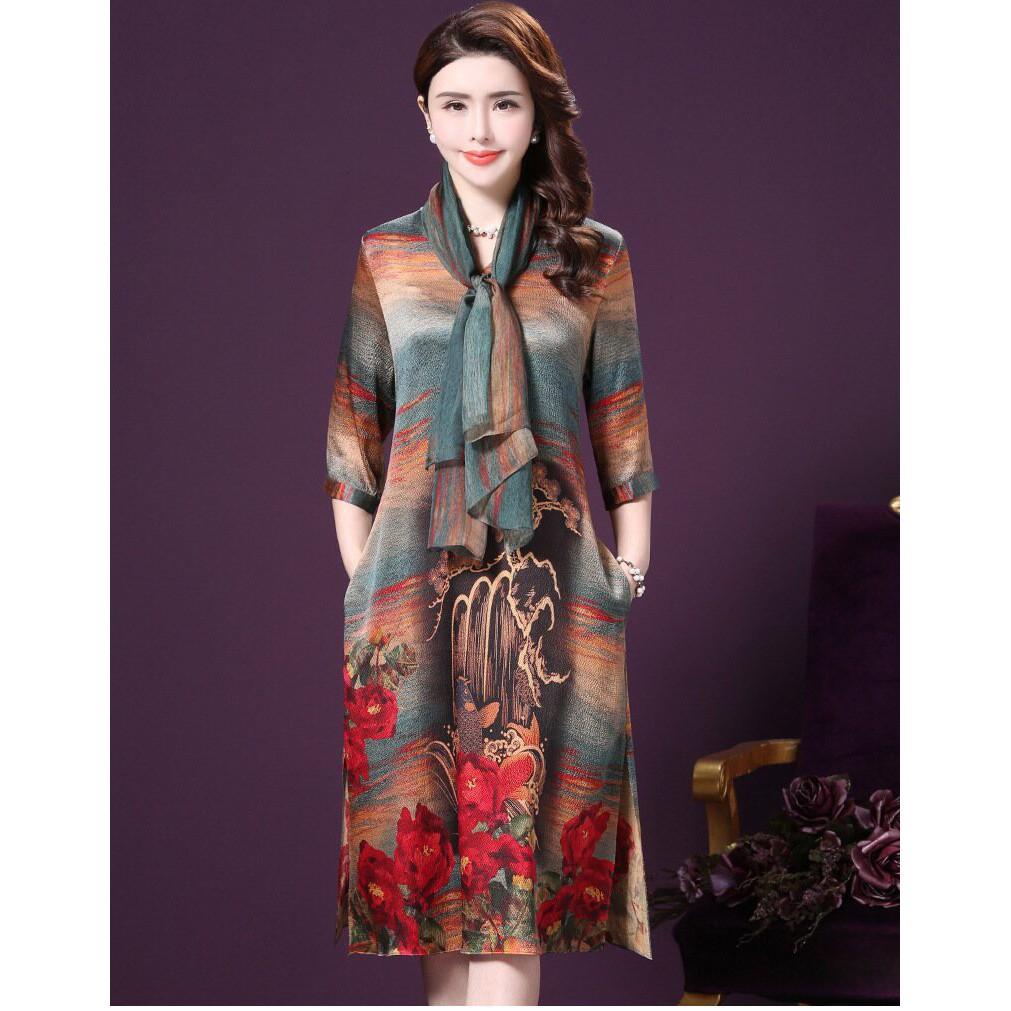 1782384410 - D1521-đầm trung niên suông lụa cao cấp phối khăn choàng xẻ tà có đủ size 48 đến 80kg