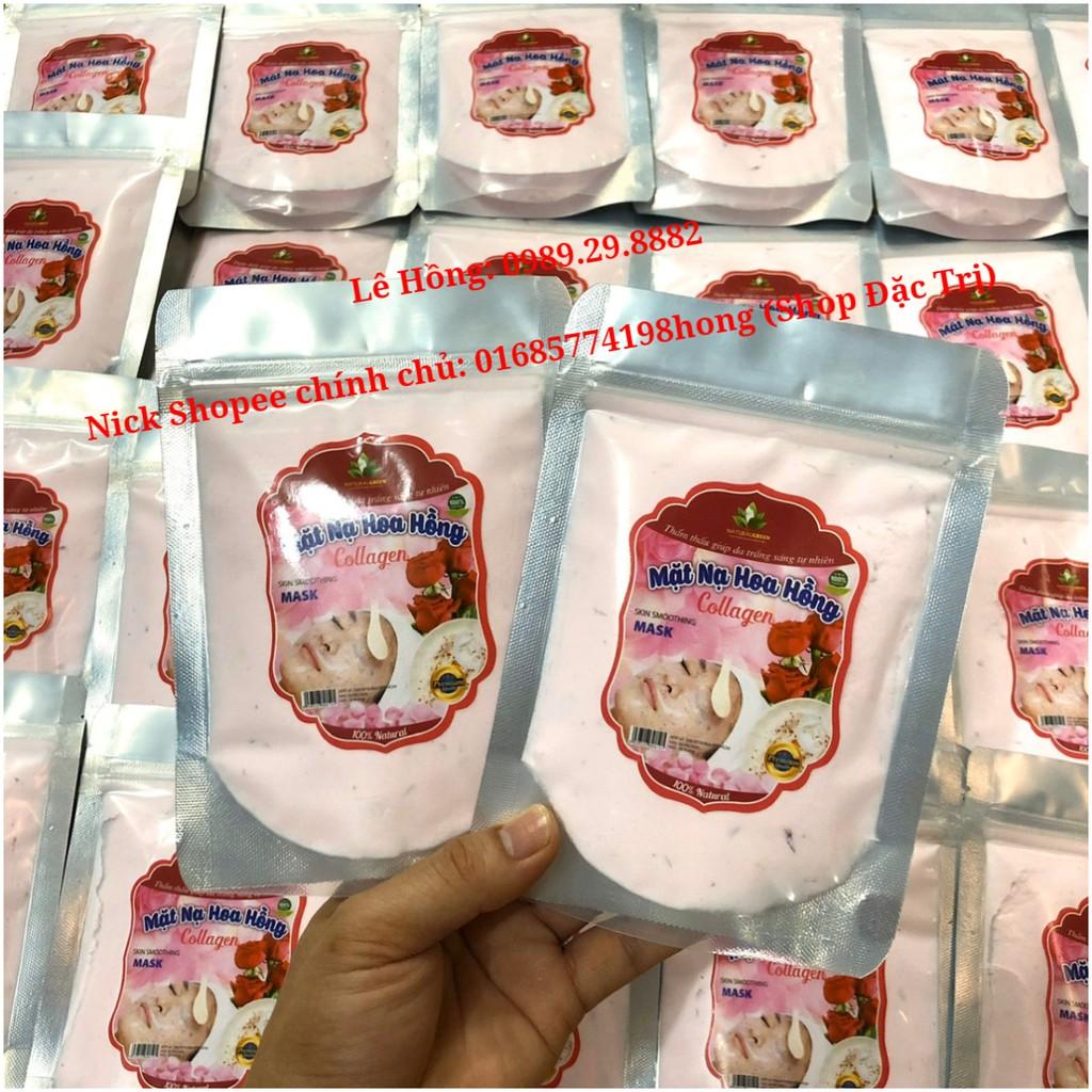 Mặt Nạ Thạch Collagen Tươi Ướp Cánh Hoa Hồng 100gr. Dưỡng trắng hồng khỏe da, Ngừa thâm, nám, tàn nhang. Mặt nạ Hoa Hồng