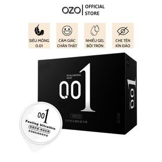 Bao cao su OZO 0.01 Đen Feeling Ultrathin siêu mỏng, hương vani, nhiều gel bôi trơn - Hộp 10 bcs - olo store thumbnail