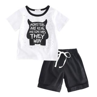 Set áo thun + quần short Sanlutoz thiết kế hoạt hình cho bé