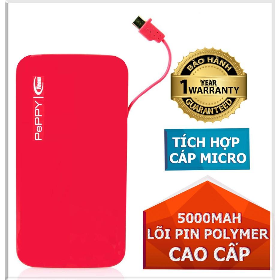 Pin dự phòng 5000mAh Team Polymer Peppy WP02 (Hồng) - Hãng phân phối chính thức