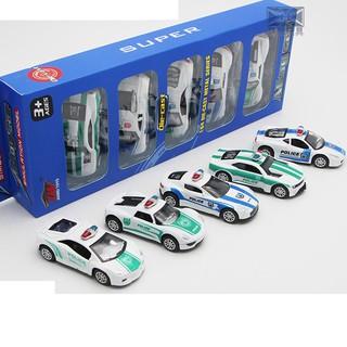Xe ô tô cảnh sát mini bộ 5 chiếc bằng sắt tỉ lệ 1 64 xe chạy bằng cót thumbnail