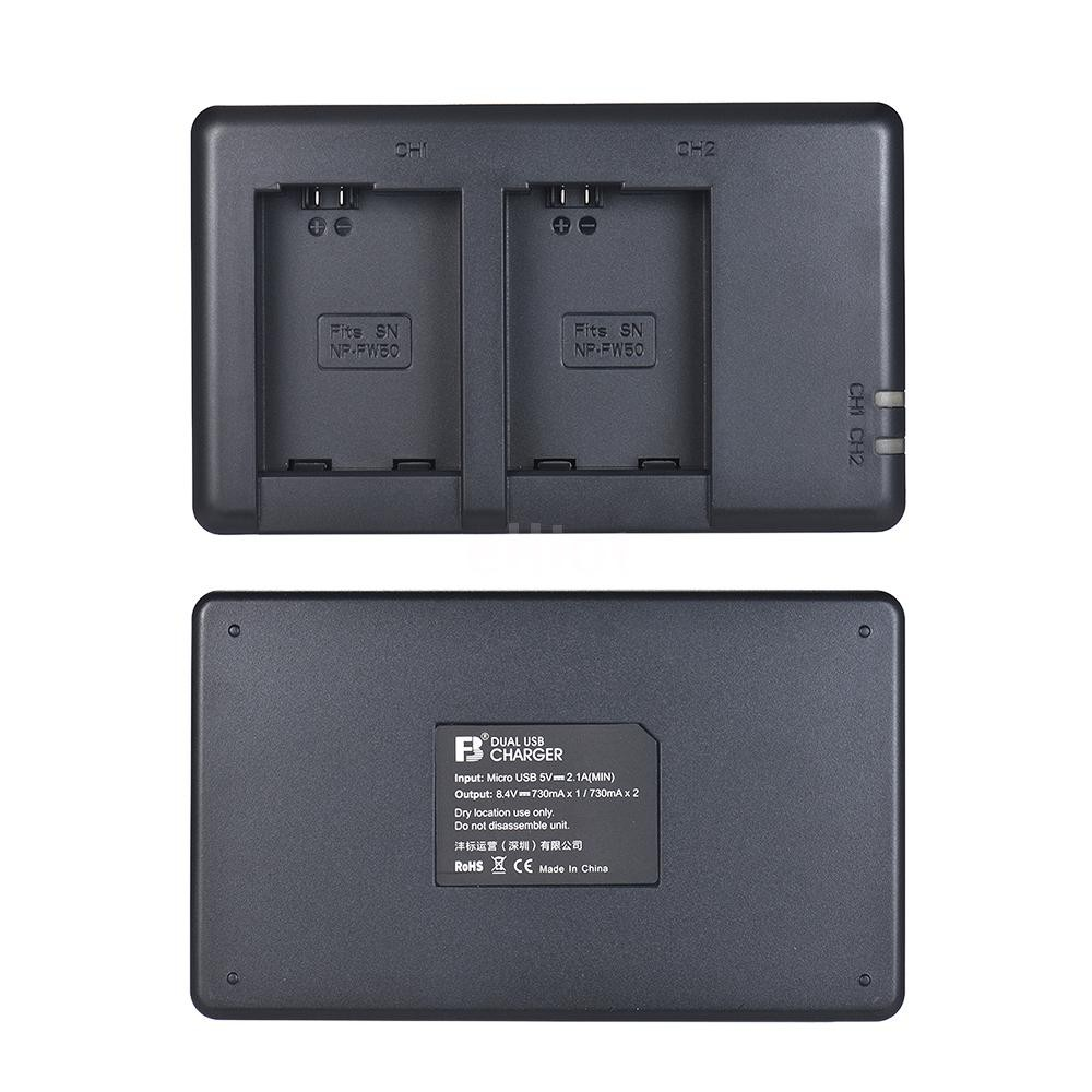 ELT FB NP-FW50 Camera Battery Charger 2-Channel Micro-USB Input for Sony Alpha a6500 a6300 a6000 a7s