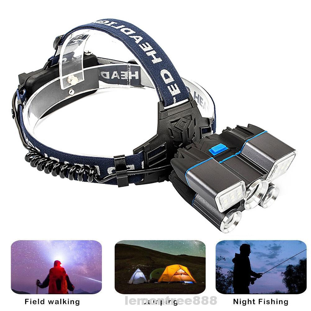 Multifunctional Outdoor Camping Hiking Warning Ultra Bright Led USB Rechargeable Waterproof Headlamp