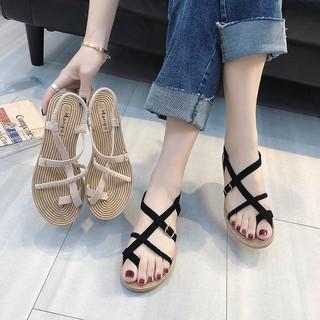 Dép xỏ ngón, sandal nữ xỏ ngón nữ đan dây chéo phong cách thời trang, cá tính
