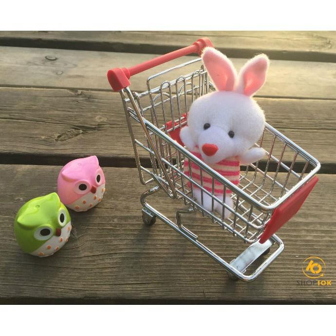 Xe đẩy mini kim loại trang trí/ đựng đồ/ đồ chơi cỡ nhỏ cho doll đáng yêu