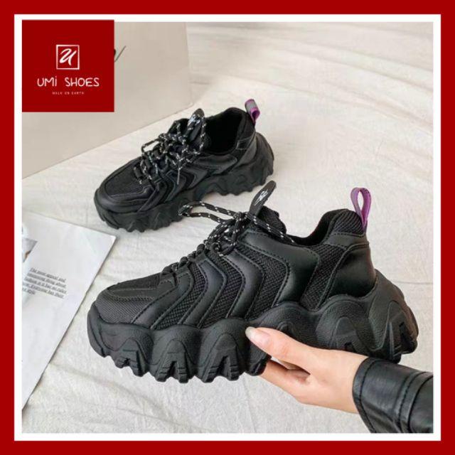 Giày thể thao nữ Ulzzang Eyty nâng độn đế cao 5cm răng cưa to mềm thoáng cá tính năng động màu đen trơn/kem [VIDEO THẬT]
