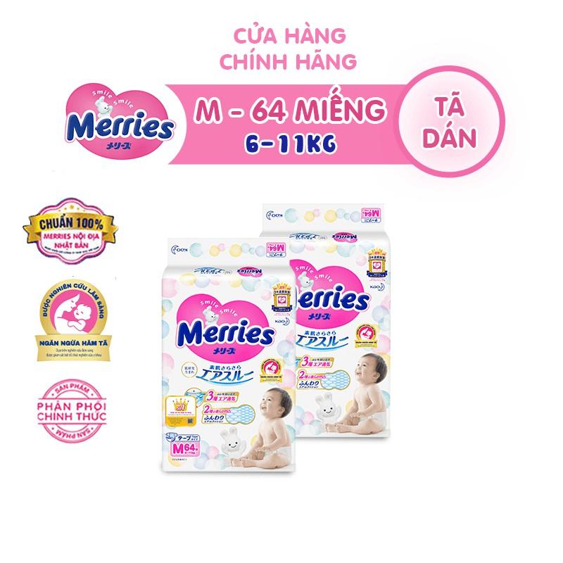 Combo 2 Tã/bỉm dán Merries size M – 64 miếng (Cho bé 6 – 11kg)