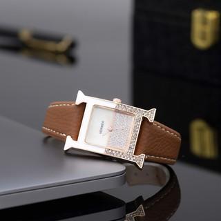 [Tặng Box Hãng] Đồng hồ nữ HERMES dây da mặt vuông đính đá cao cấp full box DHN02 - Shop5412
