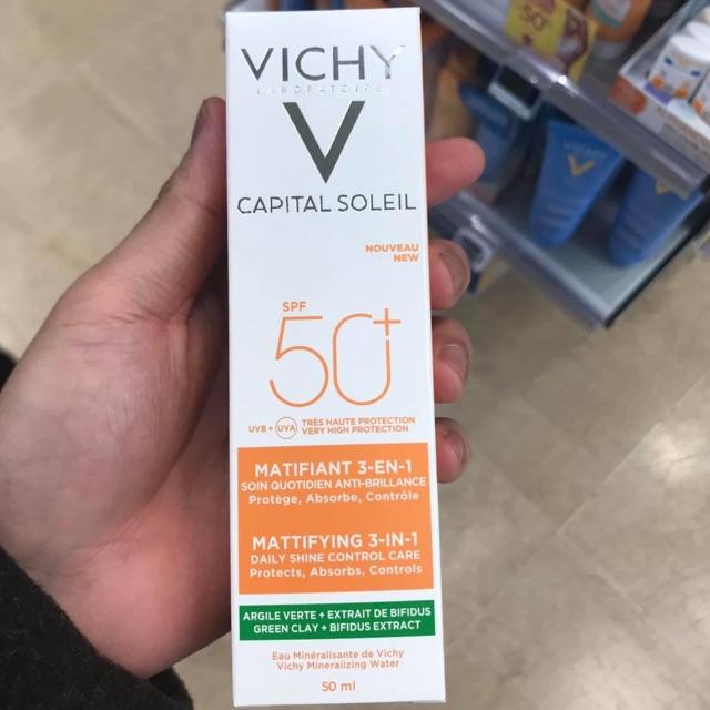 (Hàng Pháp nội địa) Kem chống nắng Vichy Capital Soleil Mattifying 3 in 1